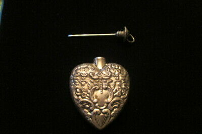 Vintage Sterling Silver Heart Shaped Snuff Bottle-Perfume- Flask-Pendant Jewelry