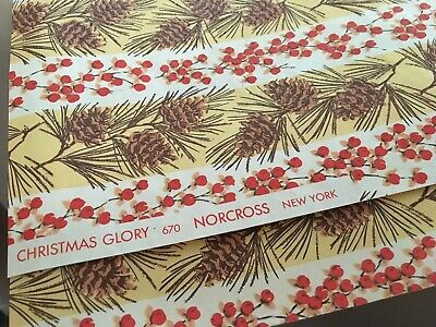 VTG NORCROSS CHRISTMAS WRAPPING PAPER GIFT WRAP 1950s GLITTER PINECONE NOS