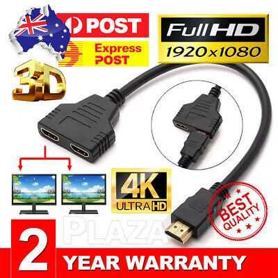 1 In 2 Out HDMI Splitter Amplifier Duplicator Full HD 1080p 3D V1.4 DVD