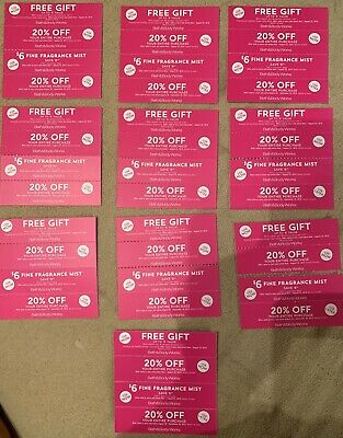 Lot 40 BATH AND BODY WORKS Coupons Pay Nothing For $6 Gift Items 20% Off