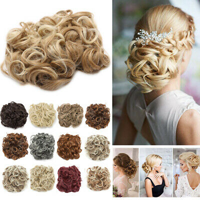 UK Fake LARGE Messy Bun Hair Extensions REAL Chignon As Human Curly Wedding Updo