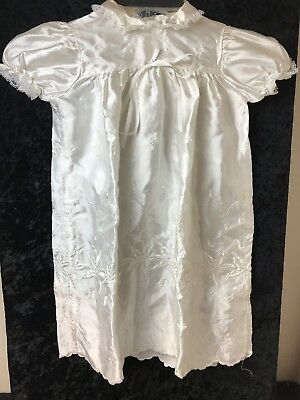 Vintage Madonna White Embroidered Christening Gown Hat w/Slip Size Large 2T-3T