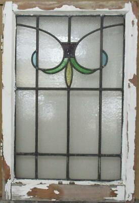 """MIDSIZE OLD ENGLISH LEADED STAINED GLASS WINDOW Pretty Abstract 20.25"""" x 30.25"""""""