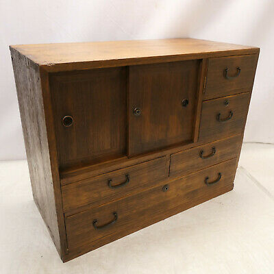 Antique Kiri Wood Small Tansu Chest Japanese Drawers Circa 1910s #235