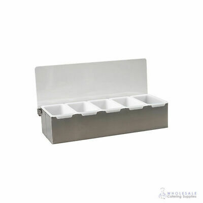 Condiment Dispenser 5 Removable Compartments Stainless Steel Base with Clear Lid