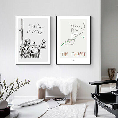 Line Drawing Abstract Poster Canvas Wall Art Black White Print Modern Decoration