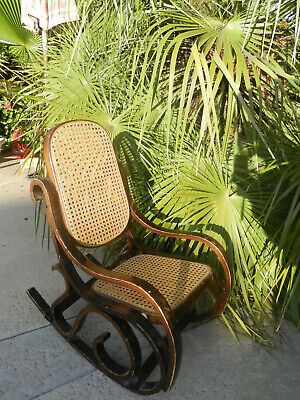 Vintage Bentwood Wicker Cane Wood Rocking Chair Mid Century Modern Child Thonet
