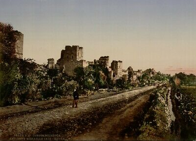Byzantine Wall, Constantinople, 1890's, Vintage Turkish Photography Poster