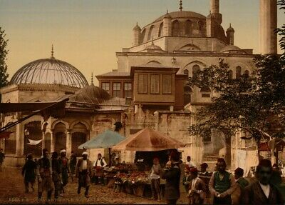 Mosque & Scutari St., Constantinople, 1890's, Vintage Turkish Photography Poster