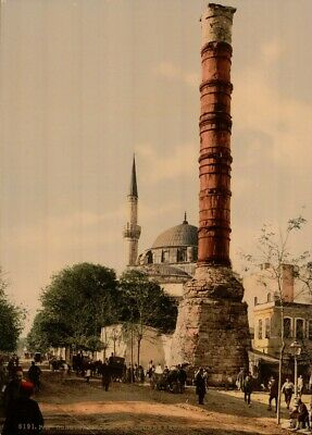 The Burnt Column, Constantinople, 1890's, Vintage Turkish Photography Poster