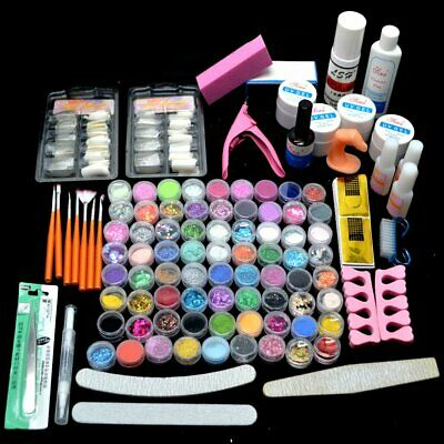 Full Set Manicure Kit Nail Tips Shiny Nail Art 72 Acrylic Glitter Powder UV Gel