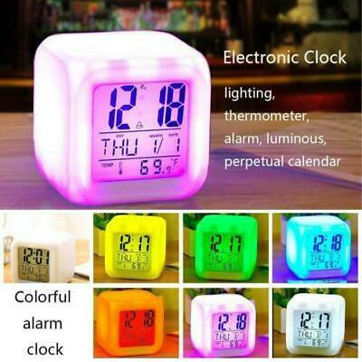 7 Colour LED Change Digital Glowing Alarm Clock Night Light for Bedroom Kids New