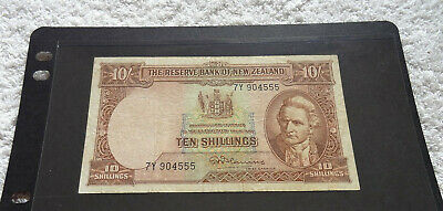 Rare Reserve Bank Of New Zealand 10 Shillings Paper Banknote