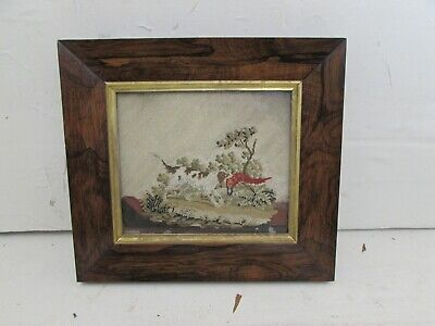 Victorian Needlework Picture Depicting Spaniel Dog With Pheasant Rosewood Frame
