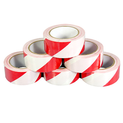 24 ROLLS OF STRONG RED/WHITE HAZARD WARNING 50mm x 33M PVC BARRIER SAFETY TAPE