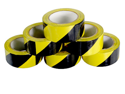 6 ROLLS OF STRONG YELLOW/BLACK HAZARD WARNING 50mm x 33M PVC BARRIER SAFETY TAPE