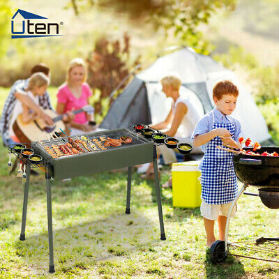 Barbecue Grill BBQ Portable Charcoal Camping Rectangular Stainless Steel Outdoor