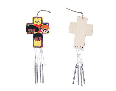12 Paint Your Own 28cm Wooden Christian Cross Wind Chimes for Crafts