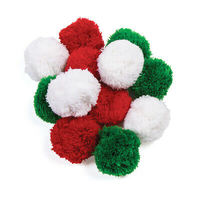 12 Large Ready Made 6cm Christmas Colour Wool Craft Pom Poms |Pompoms for Crafts