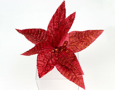Large 26cm Glitter & Sequin Embellished Poinsettia Flower - Christmas Floristry