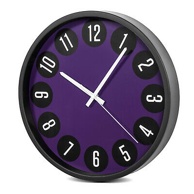"Silent Wall Clock 14"" 34cm Large Display Arabic Numerals Analogue Purple Black"