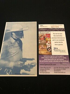 Clayton Moore ( The Lone Ranger ) signed pictured postcard Bold JSA