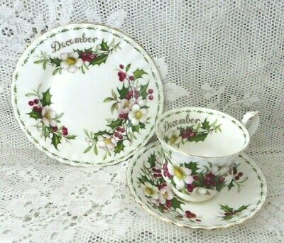 Vintage Royal Albert Trio December 'Christmas Rose'  Flower Of The Month