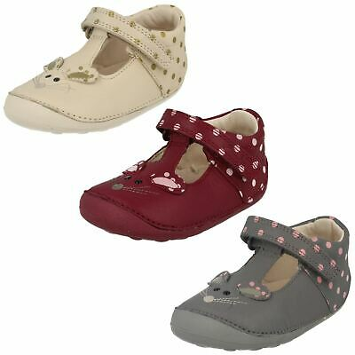 Girls Clarks Little Pip Hook & Loop First Casual Cruisers Shoes Polka Dots Size