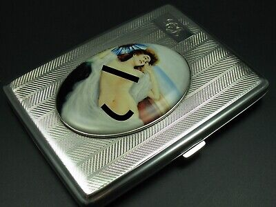 Bravingtons England Cigarette Case 925 Silver with Erotic Picture from 1931