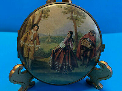 Old Vtg Collectible Folding Brass Compact Mirror Two Sided Victorian Scene