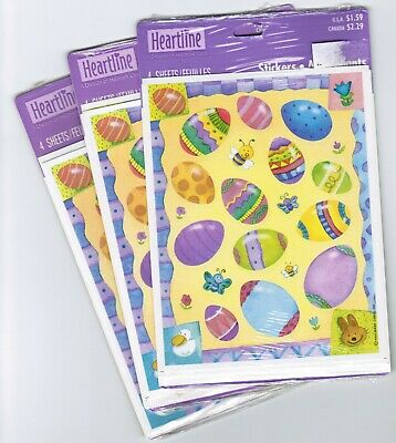 3 New Packs 12 sheets Hallmark Colorful Easter Egg Scrapbook Stickers!