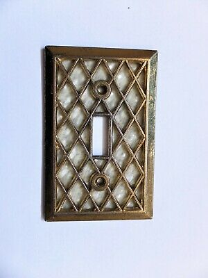 "Vintage  Brass Single Toggle Switch Cover Lattice with Pearl Back  4.5"" X 2-7/8"""