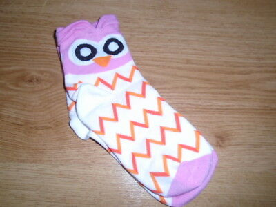 Pink and white owl face ankle socks, shaped ears BIENVENU, 6-8 years, NEW