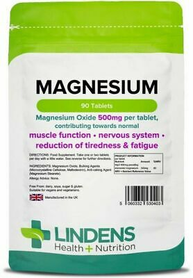 Magnesium Tablets  Muscle Function Fatigue Lindens (MgO 500mg) x 90 Capsules