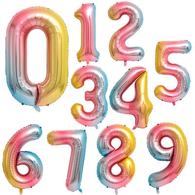 Large Foil Number Unicorn Balloons Letter Helium Air Happy Birthday Age Party UK