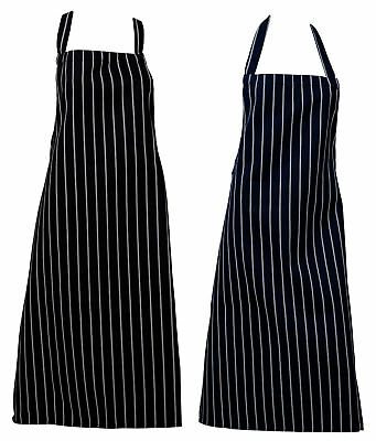 Butchers Apron Woven Stripe Kitchen Work Chefs Catering Bleach Resistant Pinny