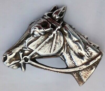 Antique Edwardian Horse's Head Brooch Silver Plated c 1910 Equestrian