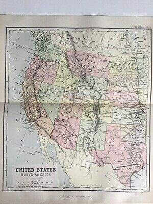 Old Antique Map 1891, Bartholomew, Johnston, United States, North America, West