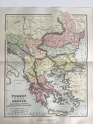 Old Antique Map 1891, Bartholomew, AK Johnston, Turkey, Greece, Romania, Serbia