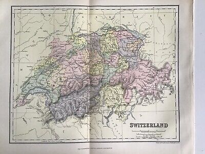 Old Antique Map 1891, Bartholomew, AK Johnston, Switzerland