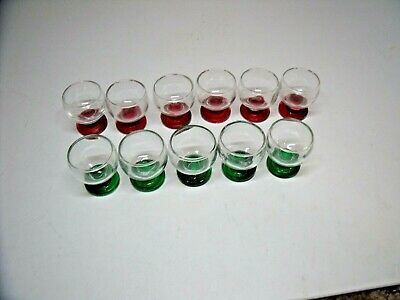 11 Vtg Shot/Liquor Footed HAND BLOWN Glasses 2 Difference Color BASES RED, GREEN