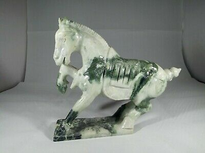 Vintage Hand Carved Chinese Jade Horse Statue