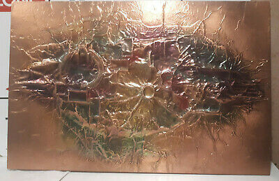 70s mid-century Brutalist ART hammered Copper Wall Hanging vintage retro pressed