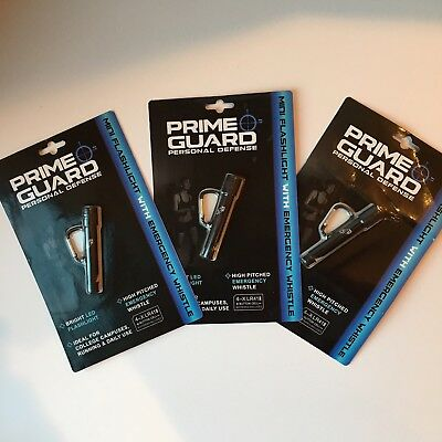 LOT OF 3 Prime Guard Personal Defense LED Flashlight Emergency Whistle Keychain