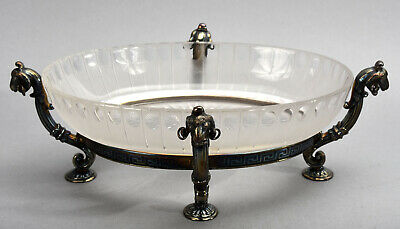 Old Victorian Oval Crystal Bowl w/ Meriden Silver-plate Footed Ram's Head Holder