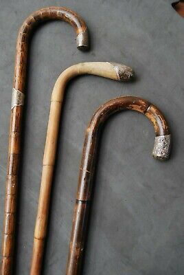 3 antique wooden walking canes sticks all with sterling silver mounts circa 1900
