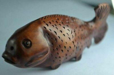 Rare Collectibles Old Decorated Handwork Boxwood Carving Fish Netsuke