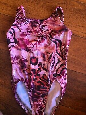 girls GK ELITE LEOTARD gymnastics CHILD LARGE CL black pink CHEETAH PRINT foil