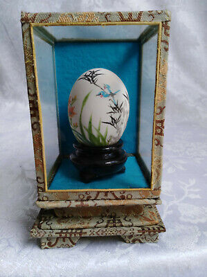 Vintage Chinese Hand Painted & Signed EGG in Silk covered Glass Case 13X8X8 cm
