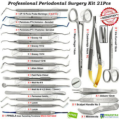 21Pcs Periodontal Surgery Dental Curettes Knives Microsurgical Tools MEDENTRA®